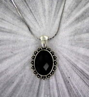 FACETED BLACK ONYX GEMSTONE PENDANT, NECKLACE WITH CHAIN SILVER PLATED SETTING