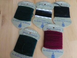 5 packs of vintage Chadwick's wool and nylon reinforcing and mending thread