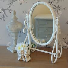 Ivory metal vanity swing mirror shabby vintage chic dressing table accessory