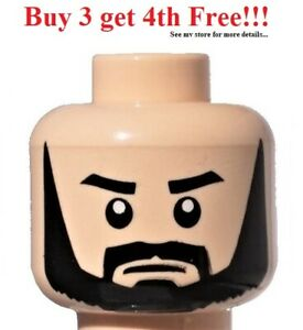 ☀️NEW Lego Minifigure Head Light Flesh Black Full Beard Thick Eyebrows White eye