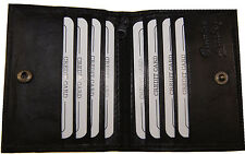 Slim Mens outside ID Genuine Leather Wallet Black 8 slot Card Holder snap 026