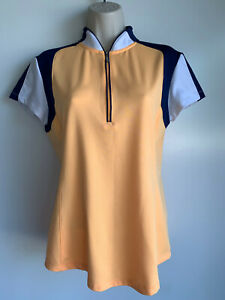 ⛳ JOFIT Orange,Navy, White 1/2 Zip Cap Sleeve Golf Tennis Pol Shirt Size Medium