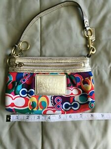 Coach Poppy Canvas C Print Multicolor Convertible Clutch Wristlet