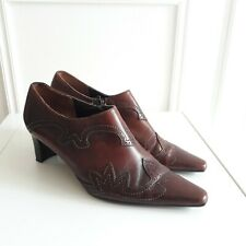 Vtg Style Retro Brown Pointed Leather Brogue Steampunk Shoe Boots  Sz 4 / 37