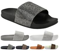 New Womens Slip On Fashion Diamante Comfy Flip Flop Slider Slippers Casual Shoes