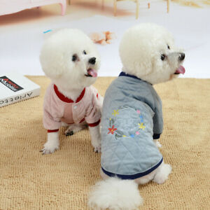 Fashion Keep Warm Two-legged Pet Coat Embroider Winter Teddy Clothes