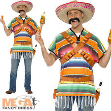 Tequila Shooter Guy Mens Mexican Poncho Bandoliers Belt Wild West Adults Costume