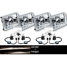 """4X6"""" 6k 4000Lm LED Crystal Clear Projector Headlight H4 Light Bulb Headlamp Set"""