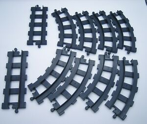Vintage Lego Duplo Black Train Track Sections 8 Curve 2 Straight