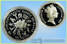 """50 Cent Silver Coin from 1989 Masterpieces Set """"1982 Commonwealth Games"""""""