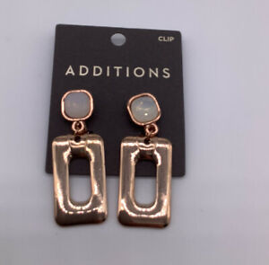 Chico's Rose Gold / Faux Mother Of Pearl  Clip earrings  nwts