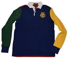 Polo Ralph Lauren Mens Custom Rugby Sweatshirt Shirt Navy Red Green Yellow Small