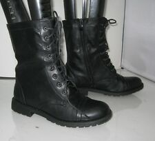 new ladies Womens Black Ankle Lace Low Heel Combat Riding Winter Boots Size 7