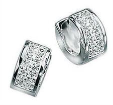 Elements 925 Polished Sterling Silver Men's CZ Huggie Hoop Cuff Earring Single