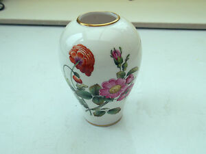 SMALL SHAPED CHINA  VASE  ROSE AND POPPY FLOWERS