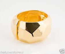 Kenneth Jay Lane Polished Gold Plated geometric shape hinged bangle bracelet