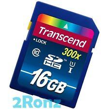 Transcend 16GB 16G 300X UHS-1 SDHC SD Flash Card DSLR Camera HD Video Class 10