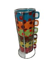 WORLD MARKET Set of 6 Colorful Stacking Coffee Cups 8 OZ with Metal Storage Rack