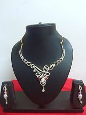 Indian AD Bollywood Style CZ Bridal Gold Plated Fashion Jewelry Necklace Set