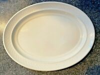 "Homer Laughlin China Gothic 11.5"" Oval Serving Platter Plate Cream Ivory"