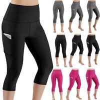 Womens Sport  Pocket Capri YOGA Pants Workout Gym Fitness Leggings Trousers X554