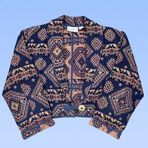 VINTAGE 90s Flashback Womens Jacket Medium Tapestry Woven One Button Crop