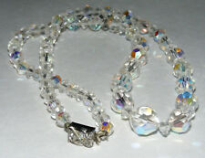 """Vintage Faceted Clear AB Aurora Borealis Crystal Beaded 20"""" Necklace A15"""