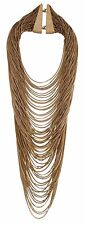 Givenchy Multistrand Gold Tone Necklace Statement Layered Curb Chain Bib