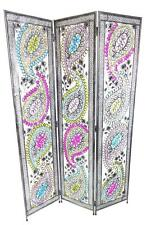3 Panel BUNTE Art Déco Feder Design Metall ZIMMER TRENNWAND Bildschirm 173x124cm