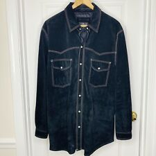 Vintage Men's Black Suede Shirt Jacket Western Triple Stitch Snap Colebrook