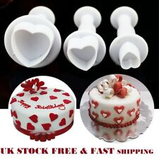 3 Love Heart Cake Decorating Sugar craft Tool Mould Plunger Cutter Icing Fondant