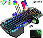 Wireless Keyboard Mouse Set RGB LED Backlit Rechargeable for PS4 PC Xbox Gamers