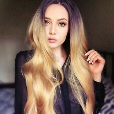 Ombre Golden Blonde Wig Long Wavy Synthetic Hair Lace Front Wigs for White Women