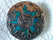 Hand Made Pendant Brooch Vintage Sterling Silver Turquoise Inlay