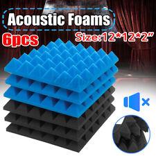 6X Acoustic Foams Studio Soundproofing Wedge Tiles Black + Blue