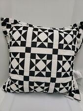 "Calvin Klein Abigail 22"" x 22"" Geometric Quilted Decorative Pillow -  BLACK"