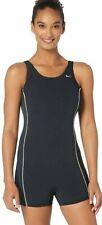 Nike Shorty Tank One Piece Swimsuit, Black, Women's 8 (34)