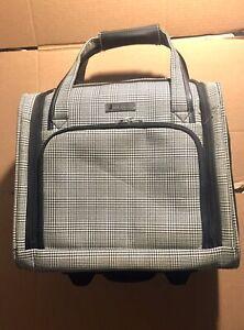 London Fog 2 Wheel Under Seat Bag, grey/ white pattern  15 Inch w/ pull Handle