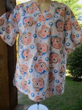 U A Scrubs Brand Scrub Top > White Background,Monkey Faces Pattern Size XS