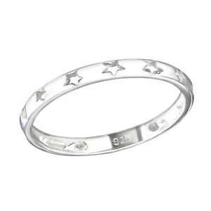 Stars Band Ring - Sterling Silver 925, Stacker