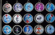 15 Christmas Olaf Silver Flat Bottle Cap Necklaces Set 1