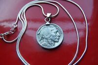 "1936-1937 Buffalo Indian Head Nickel Pendant on an 18"" Italian .925 Silver Chain"