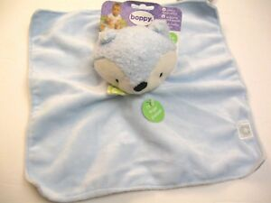 SECURITY Baby BLANKET BOPPY FOX GRAY & BLUE  COLORFUL SOFT BOY  PUPPET