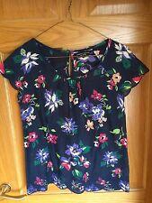 Lovely NWOT Dorothy Perkins Navy Blue Floral Summer Top Blouse Embellished Sz 8