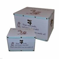 Baby Boy Keepsake Boxes (Set of 2) - What Are Little Boys Made of Design X2460B