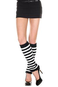 Black White Striped Knee High Leg Warmers Furry O/S New