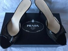 PRADA Authentic Patent Leather Black Kitten Heel Dress Sandals Size 37 1/2