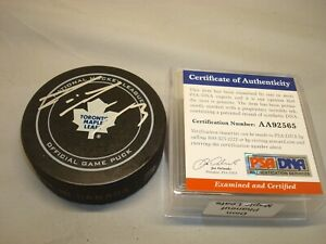 Dion Phaneuf Signed Toronto Maple Leafs Official Game Hockey Puck PSA/DNA COA 1A