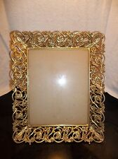 Vintage Mid Century Ornate Gold Metal Filigree Picture Frame Wall Easel  8x10""