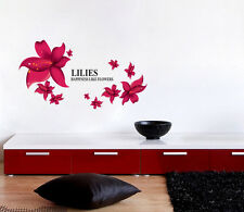 Red Lilies Flowers Wall Quote Decal Art Vinyl Sticker Removable Home Room Decor
